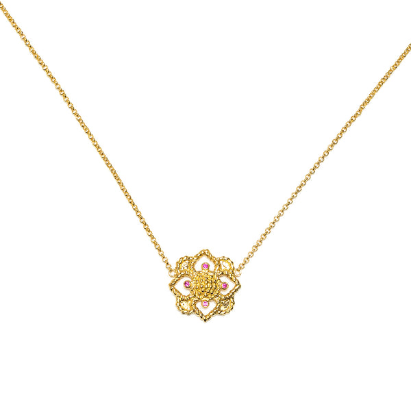 Daisy Charm Necklace, CZ Ruby