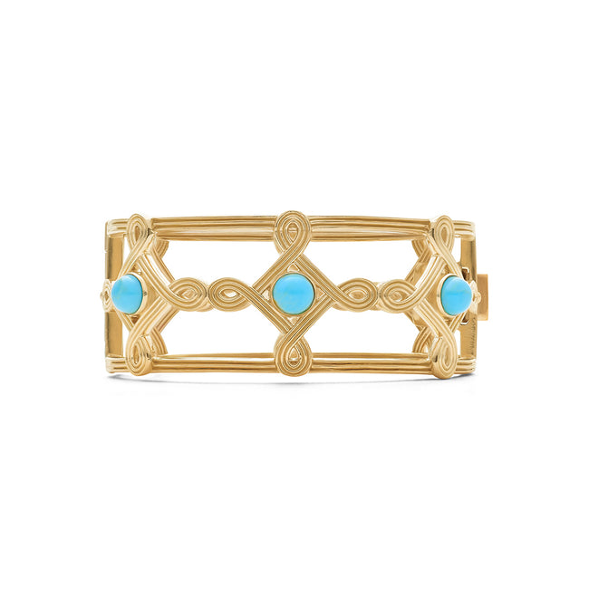Monique Compass Hinged Bangle, Turquoise
