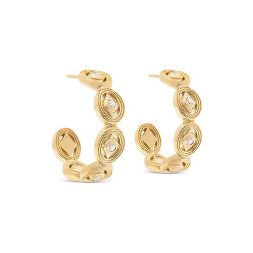 Monique Hoop Earrings, CZ Diamond