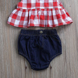 Checkered Top + Denim Shorts 3pcs Set