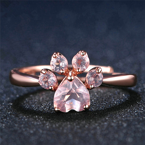 925 SILVER ROSE GOLD CAT PAW RING
