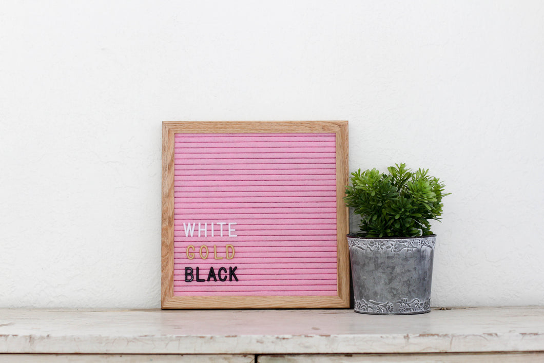 10x10 Pink Letter Board with 3/4 in white letter set - Mcleod Letter Co.