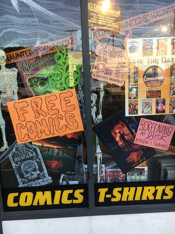Golden Apple Halloween Comicfest Stranger Things II Window Display