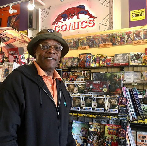 Samuel Jackson Shopping At Golden Apple Comics Hollywood Store