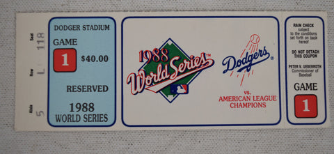 1988 World Series Game 1 Los Angeles Dodgers Ticket Stub