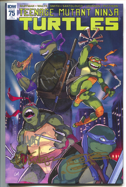 Teenage Mutant Ninja Turtles 75 TMNT Day Variant Signed 3x Tom Waltz Sketch Kevin Eastman
