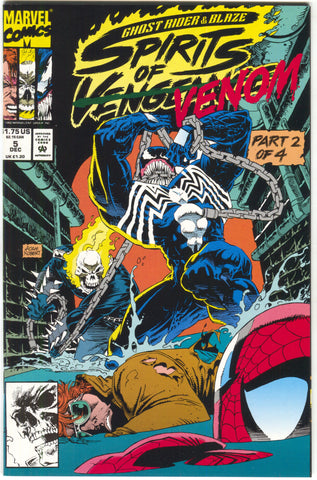 Ghost Rider Blaze Spirits Of Vengeance 5 Marvel 1992 NM+ 9.6 Venom Spider-Man