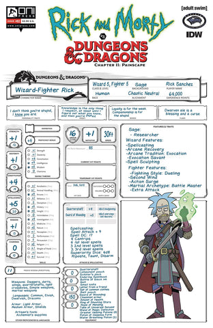 RICK & MORTY VS D&D II PAINSCAPE #2 C Troy LOOK CHARACTER Sheet Variant  (10/16/2019) Oni