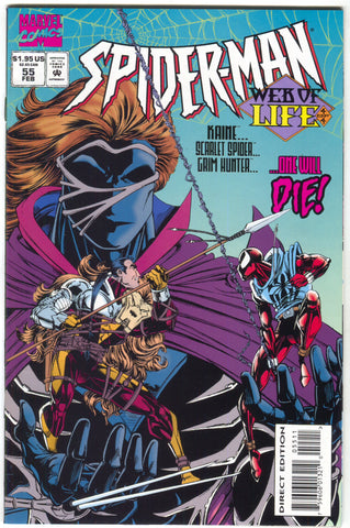 Spider-Man 55 1st Series Marvel 1995 NM Web Of Life 4 Scarlet Spider Grim Hunter