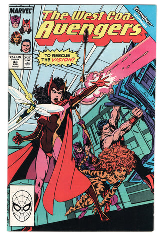 West Coast Avengers 43 Marvel 1989 NM Vision Hawkeye Scarlet Witch