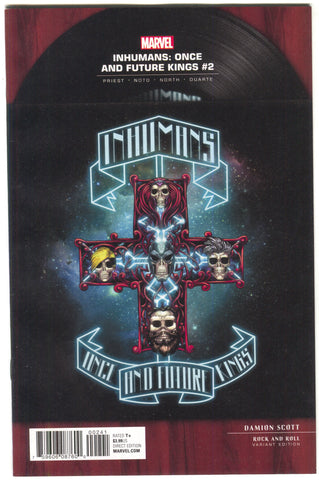 Inhumans Once And Future Kings 2 B Marvel 2017 NM 1:5 Damion Scott Rock N Roll Guns Roses Variant