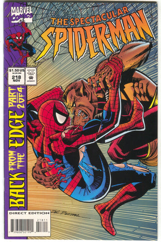 Spectacular Spider-Man 218 Marvel 1994 NM- Back From The Edge 2 Clone Saga