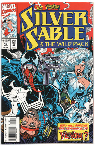 Silver Sable And The Wildpack 18 Marvel 1993 VF NM Venom