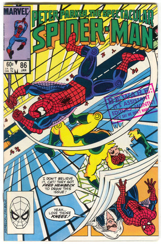 Spectacular Spider-Man 86 Marvel 1984 VF Black Cat Fred Hembeck