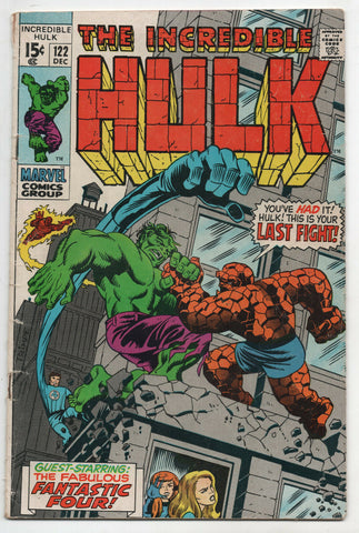 Incredible Hulk 122 Marvel 1969 VG Fantastic Four Vs Thing Herb Trimpe