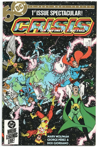 Crisis on Infinite Earths 1 DC 1985 VF NM Marv Wolfman George Perez Blue Beetle