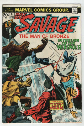 Doc Savage 8 Marvel 1974 VF Rich Buckler Werewolf Final Issue