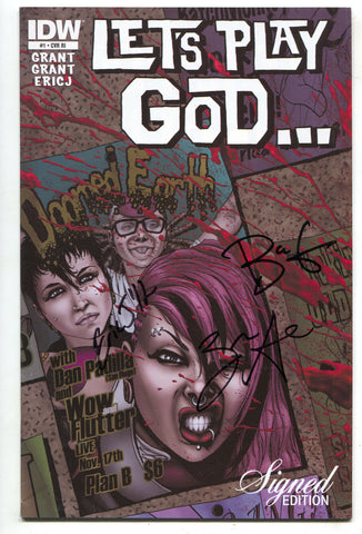 Let's Play God 1 RI IDW 2012 VF NM Signed 3 X Brea Zane Grant Eric J