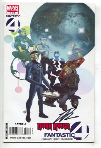 Fantastic Four Dark Reign 3 Marvel 2009 NM Signed Jonathan Hickman