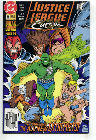 Justice League Europe 35 DC 1992 NM- Signed Darick Robertson