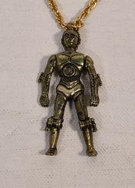 Star Wars C-3PO Figure Necklace Pendant Chain Factors 1977 New Articulated