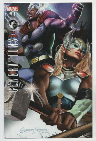 Generations Mighty Unworthy Thor 1 Marvel 2017 NM Greg Horn Variant Jane Foster