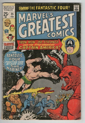 Marvels Greatest Comics 25 1970 VG Fantastic Four 34 Tales Of Suspense 60 68