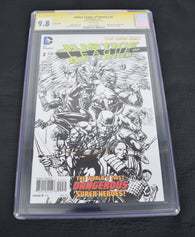 Justice League America 2 CGC SS 9.8 Signed Geoff Johns 1:100 Sketch Variant