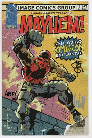 Mayhem 1 Image 2009 NM SDCC Variant Signed 4x Tyrese Gibson Tony Fleecs
