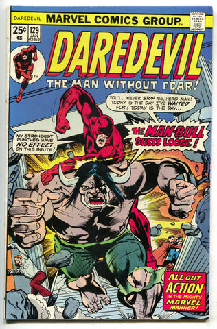 Daredevil 129 Marvel 1976 VF Man-Bull Rich Buckler Hulk MVS
