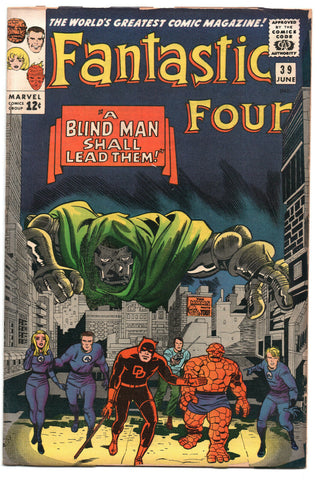 Fantastic Four 39 Marvel 1965 VG Jack Kirby Stan Lee Dr. Doom Daredevil