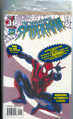 Sensational Spider-Man 1 Marvel 1996 NM Camelot Music Variant Ramones Tape Poly