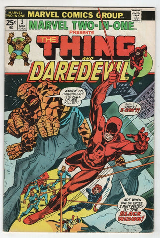 Marvel Two In One 3 1974 FN Thing Daredevil Black Widow Fantastic Four Gil Kane
