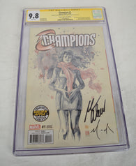 Champions 1 Marvel CGC SS 9.8 Signed Mark Waid David Mack Ms Marvel Variant