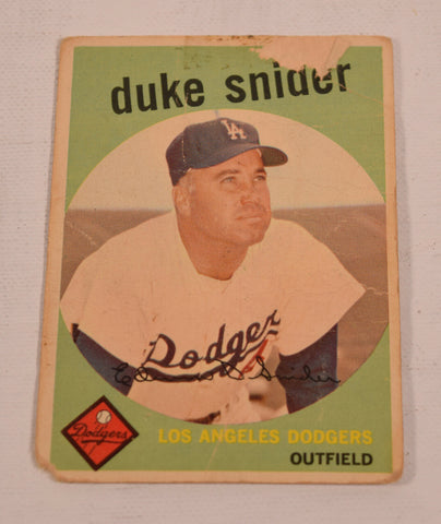 Duke Snider Topps 1959 Baseball Card 20 Los Angeles Dodgers