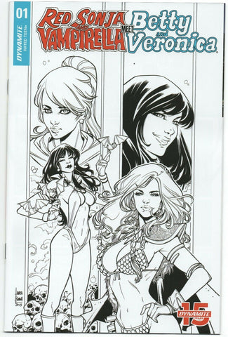 Red Sonja Vampirella Betty Veronica 1 Archie 1:20 Laura Braga BW Variant Bikini