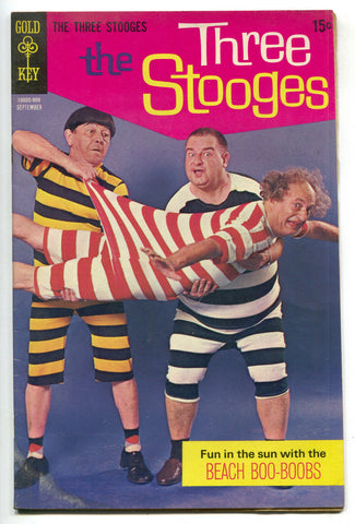 Three Stooges 44 Gold Key 1969 VG Beach Boo Boobs Swimsuit Photo Cover