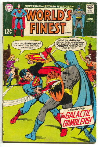 Worlds Finest 185 DC 1969 VG Batman Superman Blackhawk Aquaman Media History
