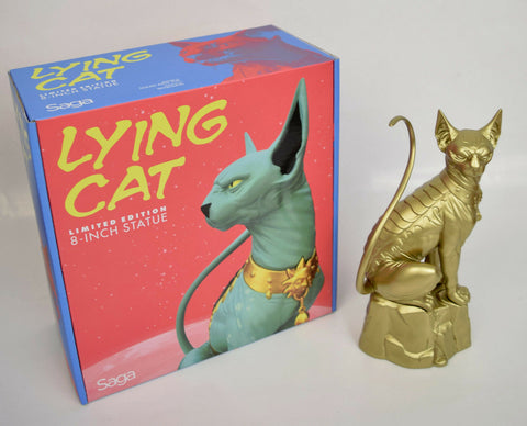 "Saga Lying Cat Statue 8"" Gold NYCC 2016 Skybound New Marko Alana Limited"