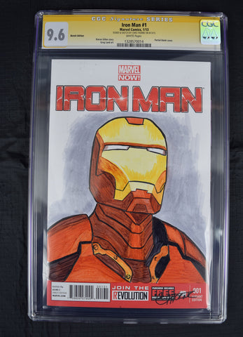 Iron Man 1 Marvel 2013 NM+ CGC SS 9.6 Chris Thorne Sketch Signed Blank