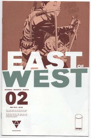East Of West 2 B Image 2013 NM- 2nd Print Jonathan Hickman Nick Dragotta