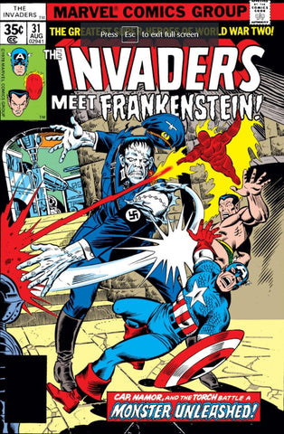 Invaders 31 Marvel 1977 Nazi Frankenstein