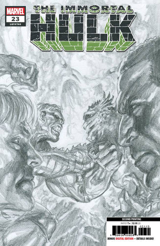 IMMORTAL HULK #23 2nd Print Alex Ross Sketch Variant (10/16/2019) MARVEL