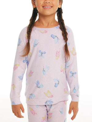 Watercolor Butterflies Raglan Long Sleeve T-Shirt (Girls 7-14)