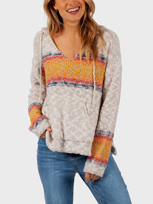 Wave Rider V-Neck Hooded Sweater
