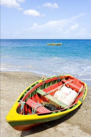 Boat at Gouyave Bay in Grenada Journal: 150 page lined notebook/diary