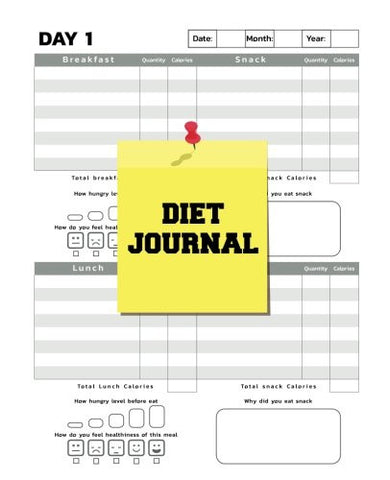 Diet Journal : 7.5x9.25 Undated Daily Food Tracker with 60 Days Challenge(120 Pages) - Food Journal Weight Watchers Log book - Vol.1: Diet Journal
