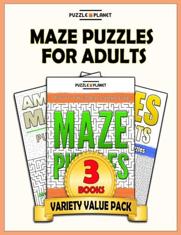 Maze Puzzles For Adults: 140 Moderate To Hard Mazes For Adults (Puzzle Books Value Packs) (Volume 2)