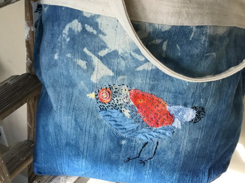 Hand dyed shopping bag with bird