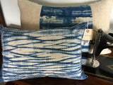 Unique hand dyed pillow with stitched shibori design